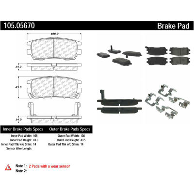 Posi Quiet Ceramic Brake Pads with Shims and Hardware , Posi Quiet 105.05670