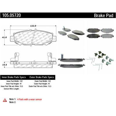 Posi Quiet Ceramic Brake Pads with Shims and Hardware , Posi Quiet 105.05720