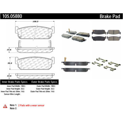 Posi Quiet Ceramic Brake Pads with Shims and Hardware , Posi Quiet 105.05880
