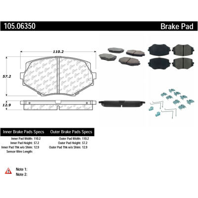 Posi Quiet Ceramic Brake Pads with Shims and Hardware , Posi Quiet 105.06350