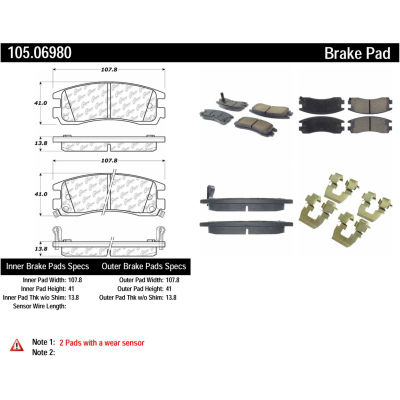 Posi Quiet Ceramic Brake Pads with Shims and Hardware , Posi Quiet 105.06980