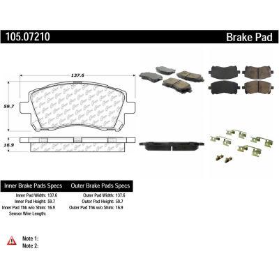 Posi Quiet Ceramic Brake Pads with Shims and Hardware , Posi Quiet 105.07210