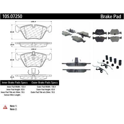 Posi Quiet Ceramic Brake Pads with Shims and Hardware , Posi Quiet 105.07250