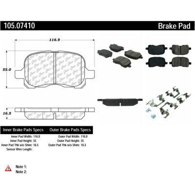 Posi Quiet Ceramic Brake Pads with Shims and Hardware , Posi Quiet 105.07410