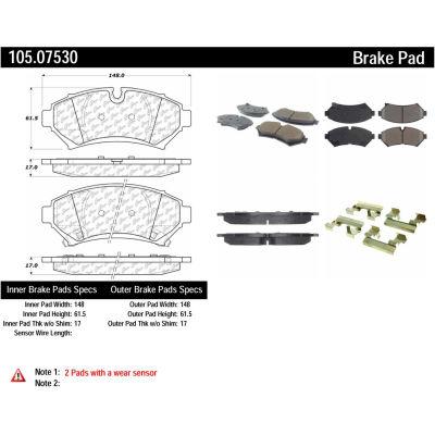 Posi Quiet Ceramic Brake Pads with Shims and Hardware , Posi Quiet 105.07530