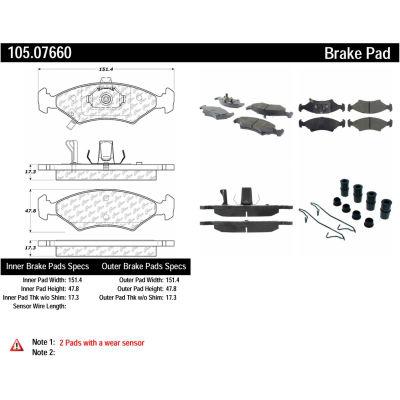 Posi Quiet Ceramic Brake Pads with Shims and Hardware , Posi Quiet 105.07660