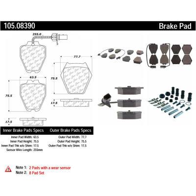 Posi Quiet Ceramic Brake Pads with Shims and Hardware , Posi Quiet 105.08390
