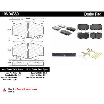 Posi Quiet Extended Wear Brake Pads with Shims and Hardware , Posi Quiet 106.04360