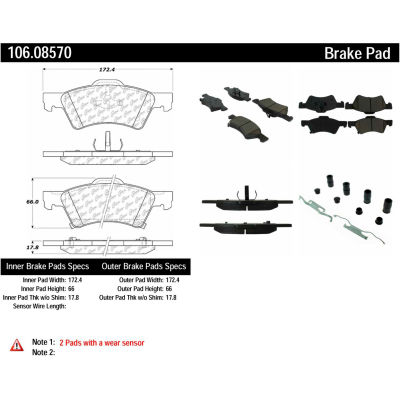 Posi Quiet Extended Wear Brake Pads with Shims and Hardware , Posi Quiet 106.08570