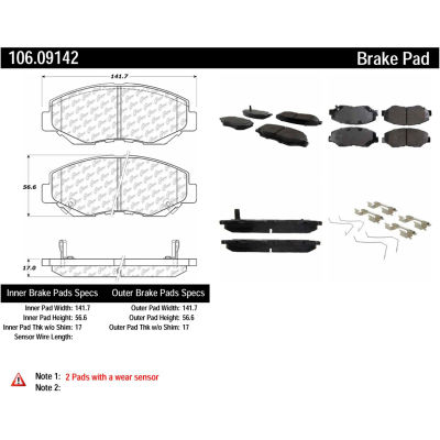 Posi Quiet Extended Wear Brake Pads with Shims and Hardware , Posi Quiet 106.09142
