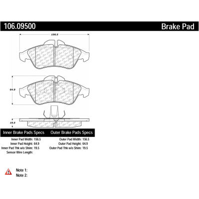 Posi Quiet Extended Wear Brake Pads with Shims and Hardware , Posi Quiet 106.09500