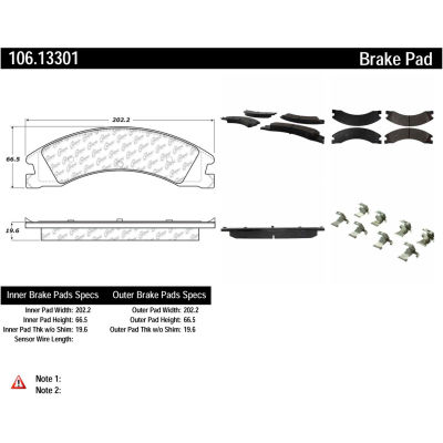 Posi Quiet Extended Wear Brake Pads with Shims and Hardware , Posi Quiet 106.13301