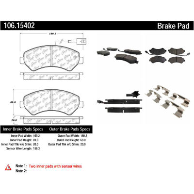 Posi Quiet Extended Wear Brake Pads with Shims and Hardware , Posi Quiet 106.15402