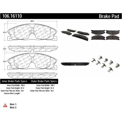 Posi Quiet Extended Wear Brake Pads with Shims and Hardware , Posi Quiet 106.16110