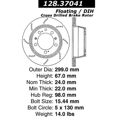 Centric Premium OE Style Drilled Brake Rotor, Centric Parts 128.37041
