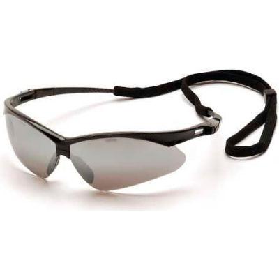 Pmxtreme™ Eyewear Silver Mirror Lens , Black Frame & Cord