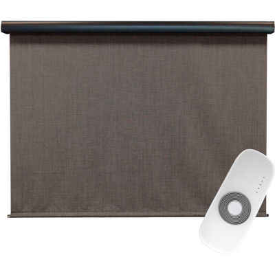 Keystone Fabrics Regal Rechargeable Motorized Outdoor Sun Shade W/ Protective Valance, 8 X 8, Pepper