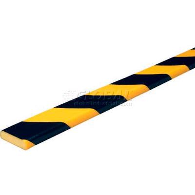 """Knuffi Flat Bumper Guard, Type F, 196-3/4""""L x 1-9/16""""W x 7/16""""H, Black & Yellow, 60-6750"""