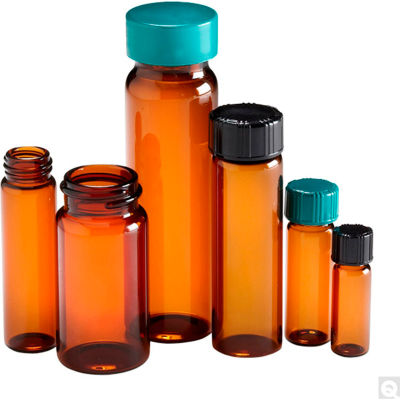 Qorpak GLC-01056 Amber Glass Screw Thread Sample Vials with Green Caps, 5 dram (20ml), Case of 144