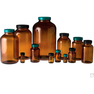 Qorpak GLC-02125 8.5oz (250ml) Amber Wide Mouth Packer Bottle with 45-400 Black Cap, Case of 24