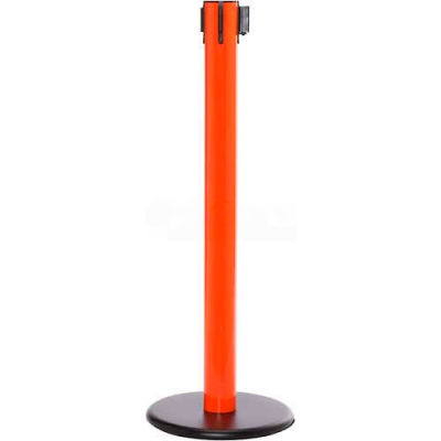 Orange Post Safety Barrier, 16 Ft., Black/White Stripe Belt