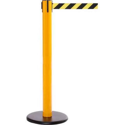 Yellow Post Safety Barrier, 16 Ft., Yellow/Black Diagonal Stripe Belt - Pkg Qty 2
