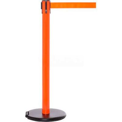 Orange Post Safety Barrier, 11 Ft., Fluorescent Yellow Belt - W/Roller Base - Pkg Qty 2