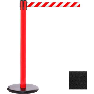 Red Post Safety Barrier, 11 Ft., Black Belt - W/Roller Base - Pkg Qty 2