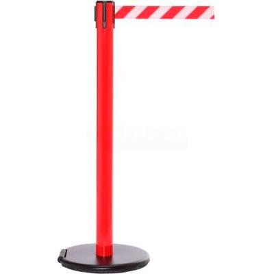 Red Post Safety Barrier, 11 Ft., Fluorescent Yellow Belt - W/Roller Base - Pkg Qty 2