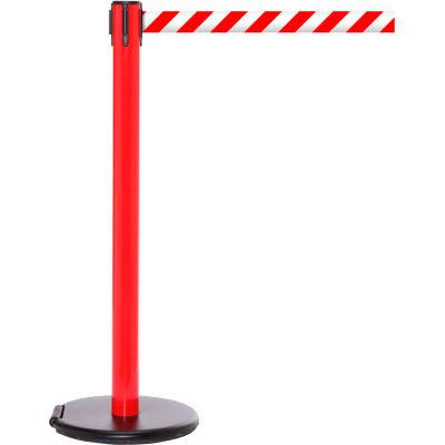 Red Post Safety Barrier, 11 Ft., Red/White Diagonal Striped Belt - W/Roller Base - Pkg Qty 2
