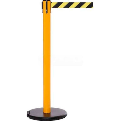 Yellow Post Safety Barrier , 11 Ft., Dark Green Belt - W/Roller Base - Pkg Qty 2