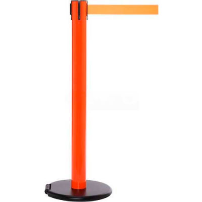 Orange Post Safety Barrier, 15 Ft., Dark Grey Belt - W/Roller Base - Pkg Qty 2