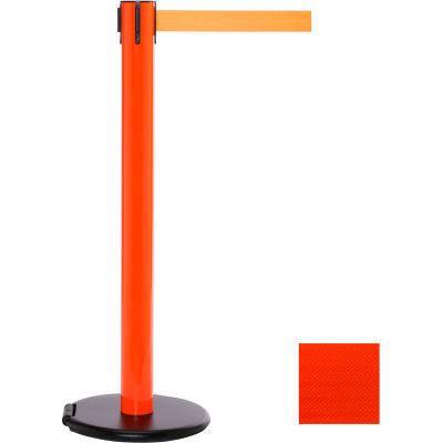 Orange Post Safety Barrier, 15 Ft., Fluorescent Orange Belt - W/Roller Base - Pkg Qty 2