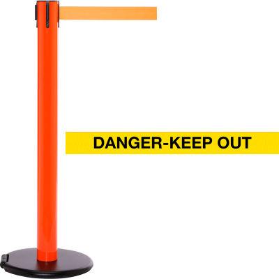 """Orange Post Safety Barrier, 15 Ft., Yellow/Black Belt """"Danger Keep Out"""" - W/Roller Base - Pkg Qty 2"""