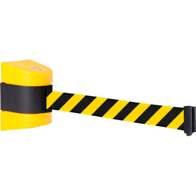 WallPro 450 Yellow Wall Mount Retracting Barrier, 25' Yellow/Black Striped Belt