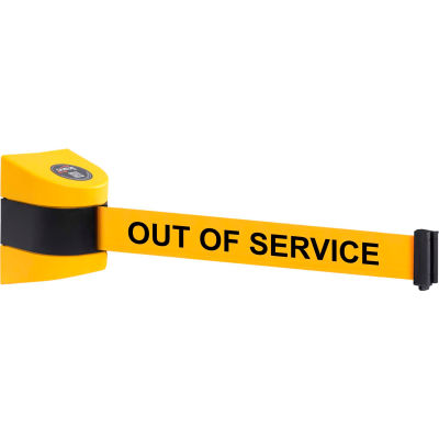 WallPro 450 Yellow Wall Mount Retracting Barrier, 30' Yellow/Black OUT OF SERVICE Belt