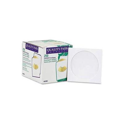 Quality ParkTM CD/DVD Sleeves, 5x5, 24lb, White, 250/Box