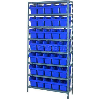 "Quantum 1275-SB802 Steel Shelving with 35 8""H Plastic Shelf Bins Blue, 36x12x75-SB8 Shelves"