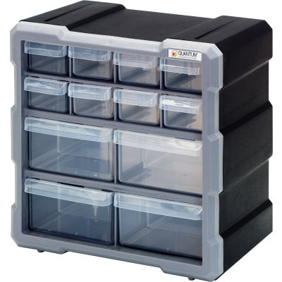 "Quantum Plastic Drawer Cabinet PDC-12BK - 12 Drawers 6-1/4""W x 10-1/2""D x 10-1/4""H"