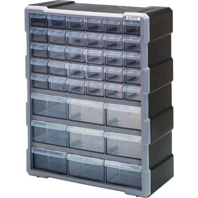"Quantum Plastic Drawer Cabinet PDC-39BK - 39 Drawers 6-1/4""W x 15""D x 18-3/4""H"