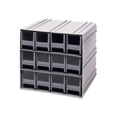"Quantum Interlocking Storage Cabinet QIC-122 - 11-3/4""Wx11-3/8""Dx11""H - 12 Gray Drawers"