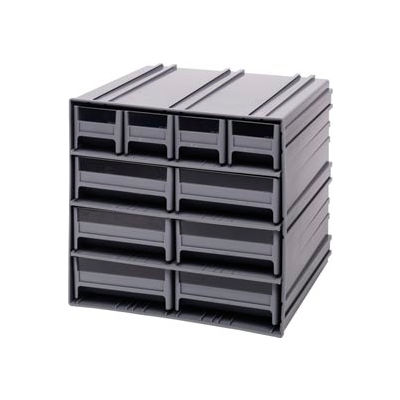 "Quantum Interlocking Storage Cabinet QIC-4163 - 11-3/4""Wx11-3/8""Dx11""H - 10 Gray Drawers"