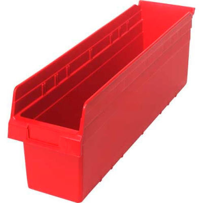 "Plastic Nesting Storage Shelf Bin QSB806 6-5/8""W x 23-5/8""D x 8""H Red - Pkg Qty 8"