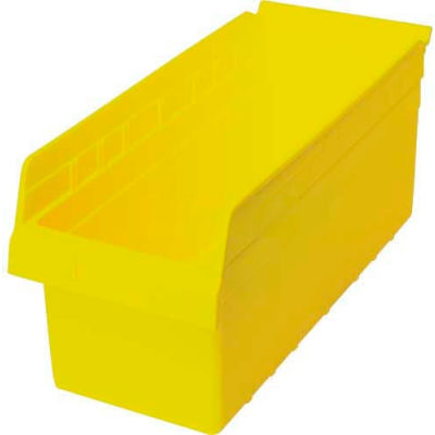 "Plastic Nesting Storage Shelf Bin QSB808 8-3/8""W x 17-7/8""D x 8""H Yellow - Pkg Qty 10"