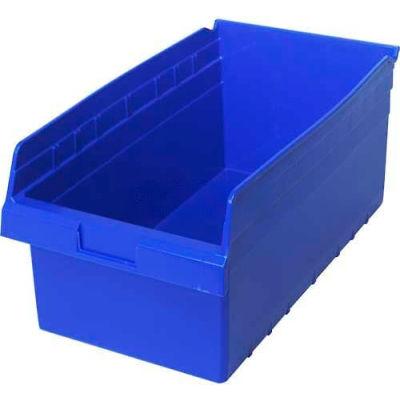 "Plastic Nesting Storage Shelf Bin QSB810 11-1/8""W x 17-7/8""D x 8""H Blue - Pkg Qty 8"