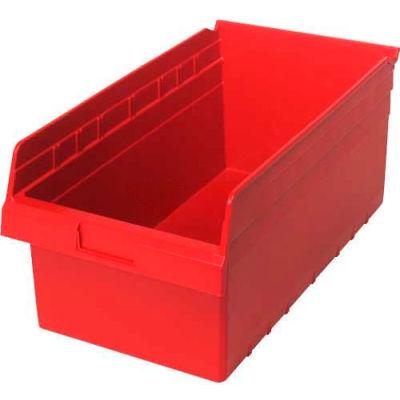 "Plastic Nesting Storage Shelf Bin QSB810 11-1/8""W x 17-7/8""D x 8""H Red - Pkg Qty 8"