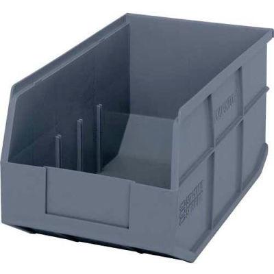 "Quantum Plastic Stacking and Hanging Shelf Bin SSB443 8-1/4""W x 14""D x 7""H, Gray - Pkg Qty 12"