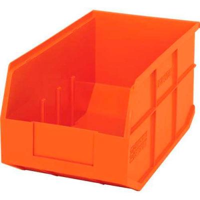 "Quantum Plastic Stackable Shelf Bin SSB443 8-1/4""W x 14""D x 7""H, Orange - Pkg Qty 12"