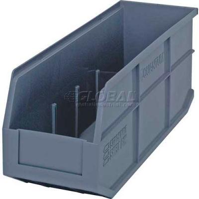 "Quantum Plastic Stacking and Hanging Shelf Bin SSB461 6""W x 18""D x 7""H, Gray - Pkg Qty 6"