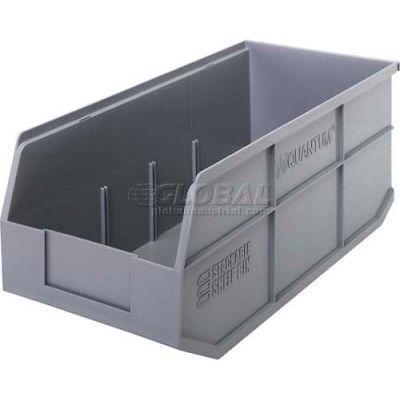 "Quantum Plastic Stacking and Hanging Shelf Bin SSB463 8-1/4""W x 18""D x 7""H, Gray - Pkg Qty 6"